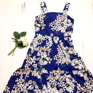 NWT Nordstrom Blue Floral Empire Waist Sundress